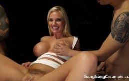 Sexy blonde milf fucks 5 guys